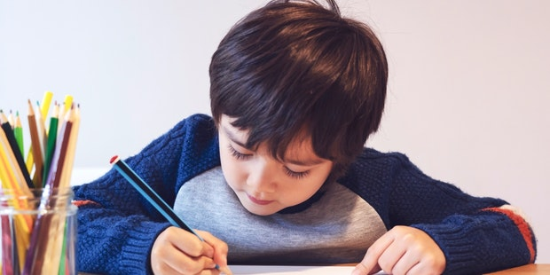 Child drawing homeschool