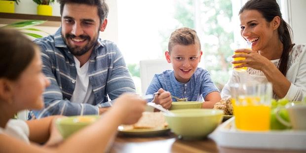 Happy family breakfast