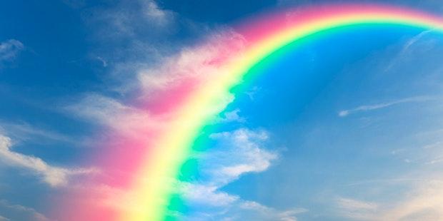 Rainbow blue sky