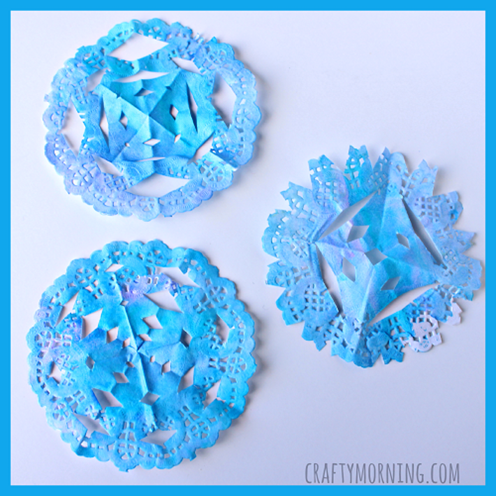 Watercolor Doily Snowflake Winter Craft For Kids